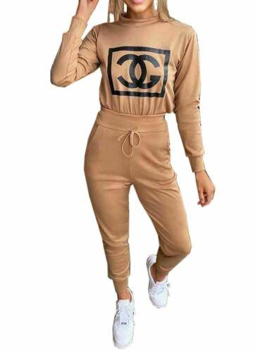 Womens Ladies CG Bottom Loungewear Long Sleeve Tracksuit Suit Set Pant 2 Pcs Set