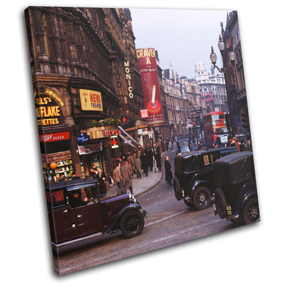 London Vintage Photo Cars rouge Bus City SINGLE TOILE murale ART Photo Print