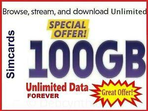 100GB telefono cellulare dei dati illimitato pay as you go 3in1 scheda sim dati gratuiti per la vita