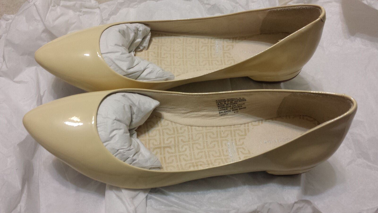 BNIB Rockport Ashika Flat Scooped Ballet Macadamia Beige Patent Leder 8.5 W