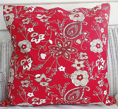 """LARGE CUSHION COVER 60 X 60 RED WITH FLORAL PATTERN -"""" MEERA BAI RED"""" -"""
