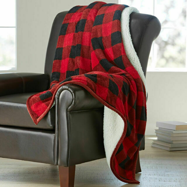 Red Buffalo Plaid 50 X 60 Better Homes And Garden Faux Fur Throw Blanket