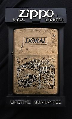 VINTAGE 1996 DORAL TOBACCOVILLE, NC SOLID BRASS ZIPPO LIGHTER IN BOX
