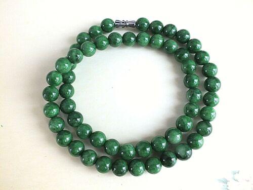 """Collar de Abalorios de 24/"""" Verde Jade Chino Mujer Hombre Joyería Boda Fiesta De Cumpleaños"""