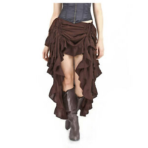 Adult Women's Adjustable Saloon Showgirl Skirt Steampunk Western Burlesque Brown