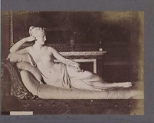 Scultura Da Canova Roma Italia 2 Foto Vintage Albumina Ca 1880