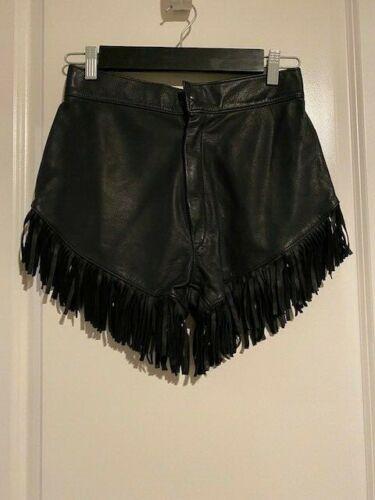 Vintage Leather Fringe black high-waisted biker sh