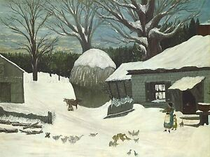 AMERICAN-19TH-CENTURY-NEW-ENGLAND-FARM-WINTER-OLD-ART-PAINTING-POSTER-BB4843A