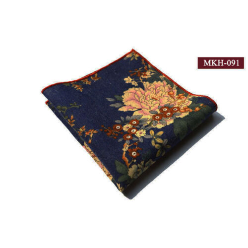 Men Stylish Flower Floral Pocket Square Cotton Hanky Wedding Party Handkerchief