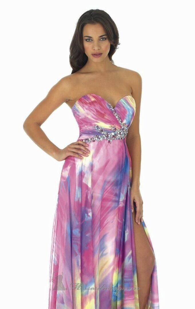 NWT MORELL MAXIE 13278  Watercolor prom pageant formal pink purple dress  8