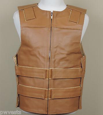 Tan Leather 2XL Bulletproof Style Motorcycle Vest