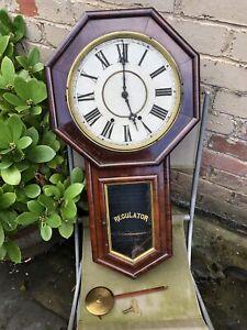 Antique Waterbury Rosewood Schoolhouse Drop Wall Clock Refurb Project No Glass
