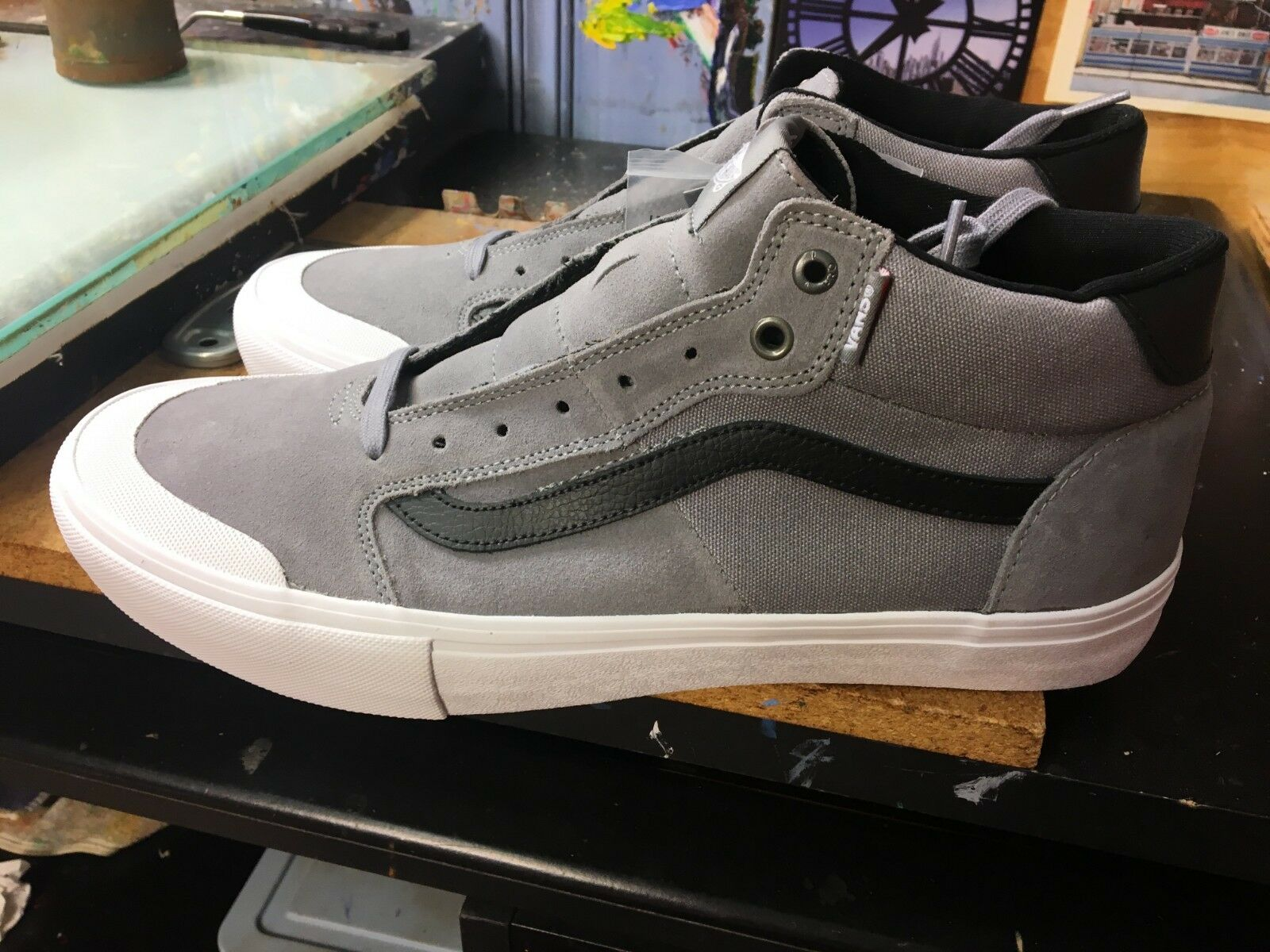 3febcaba1 Vans (Style 112) Mid PRO Frost Frost Frost Gray White Size US 13 ...