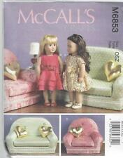 """McCALL'S SEWING PATTERN 18"""" DOLL CLOTHES PILLOW CHAIR & LOVE SEAT  M6853"""