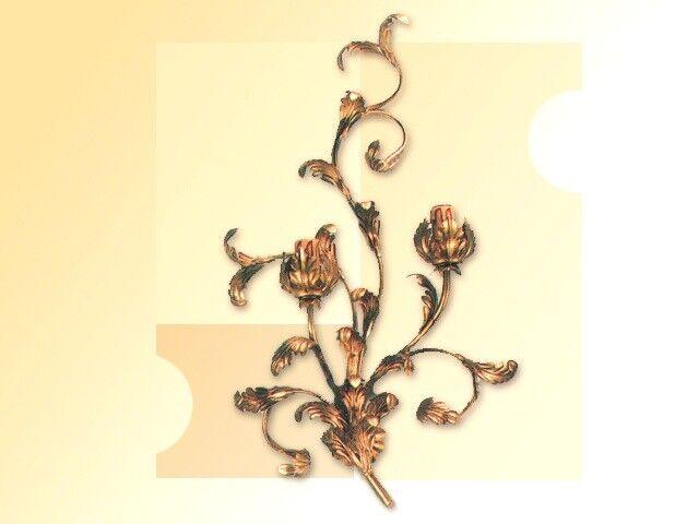 Lampadario plafoniera dorata vintage ferro battuto fiore magnolia