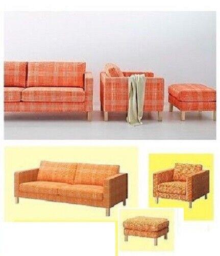 IKEA Karlstad 3-Seat Husie ORANGE Sofa+Ottoman Stool+Chair Cover Plaid  Armchair