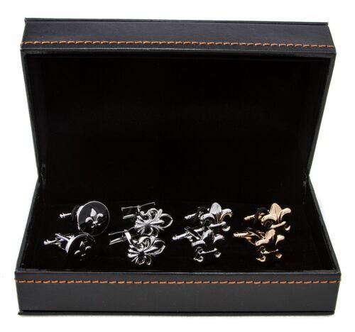 4 Pairs Fleur-de-lys Fleur De Lis Lily NOLA Cufflinks in a Presentation Gift Box