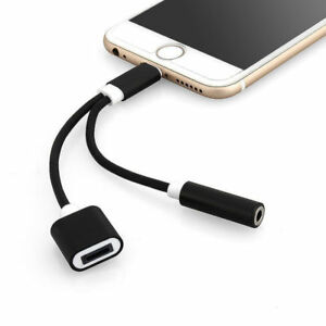 pretty nice 435b4 b1948 Details about 2 in 1 Lightning Cable to 3.5mm Charging Headphone AUX  Adaptor iPhone 8 7 XS XR