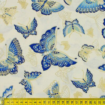 Butterflies on cream 100/% cotton and metallic fabric