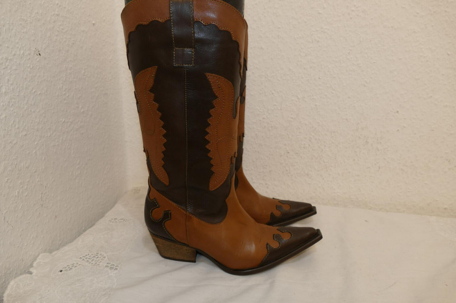 752---Vannini Cowboy Gr 37    1x getragen  Cowboystiefel Hingucker   Leder butte