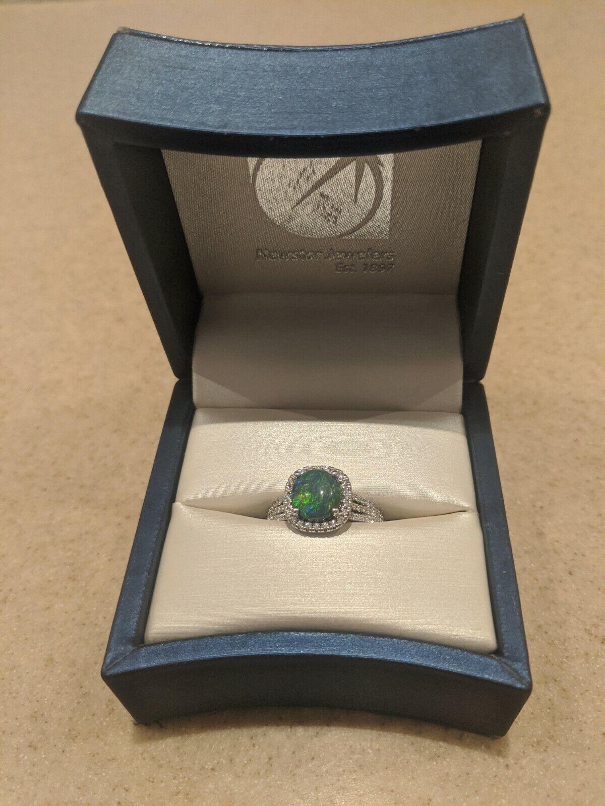 Beautiful Vintage Lightning Ridge Australian Opal Ring