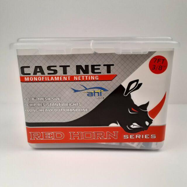 "Ahi Red Horn Cast Net Monofilament Netting 7 FT 3/8"" Mesh Casting CN-27 Fishing"
