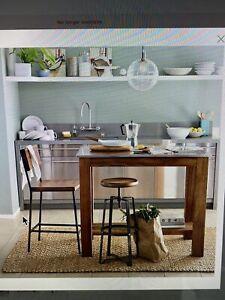 West Elm Furniture Set Rustic Kitchen Island X1 Industrial Stools X4 Ebay