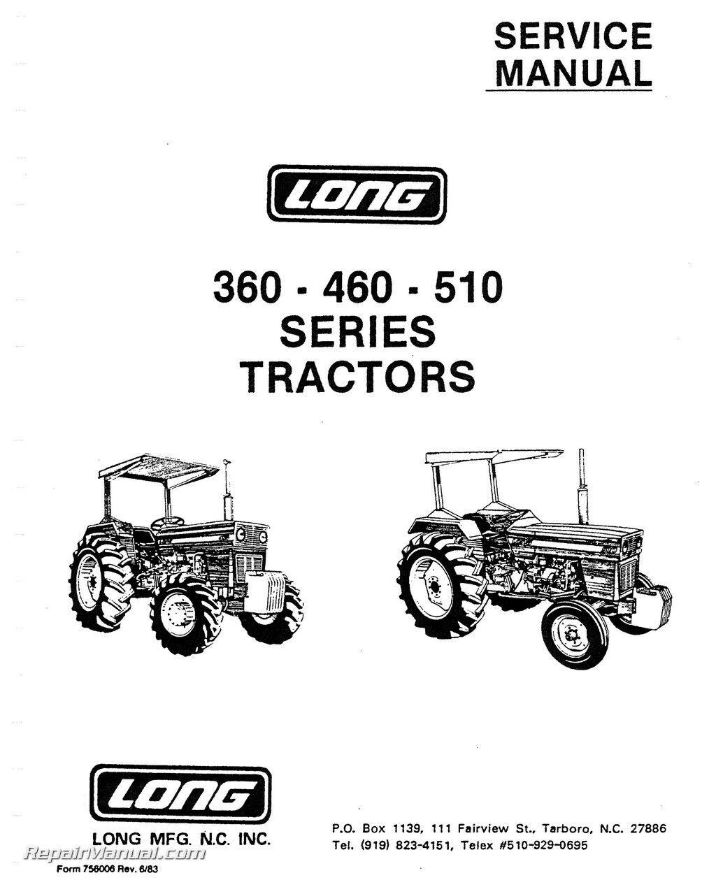 Long 360 460 510 Tractor Service Repair Shop Manual Technical John Deere 510c Alternator Wiring Diagram Book Overhaul Ebay