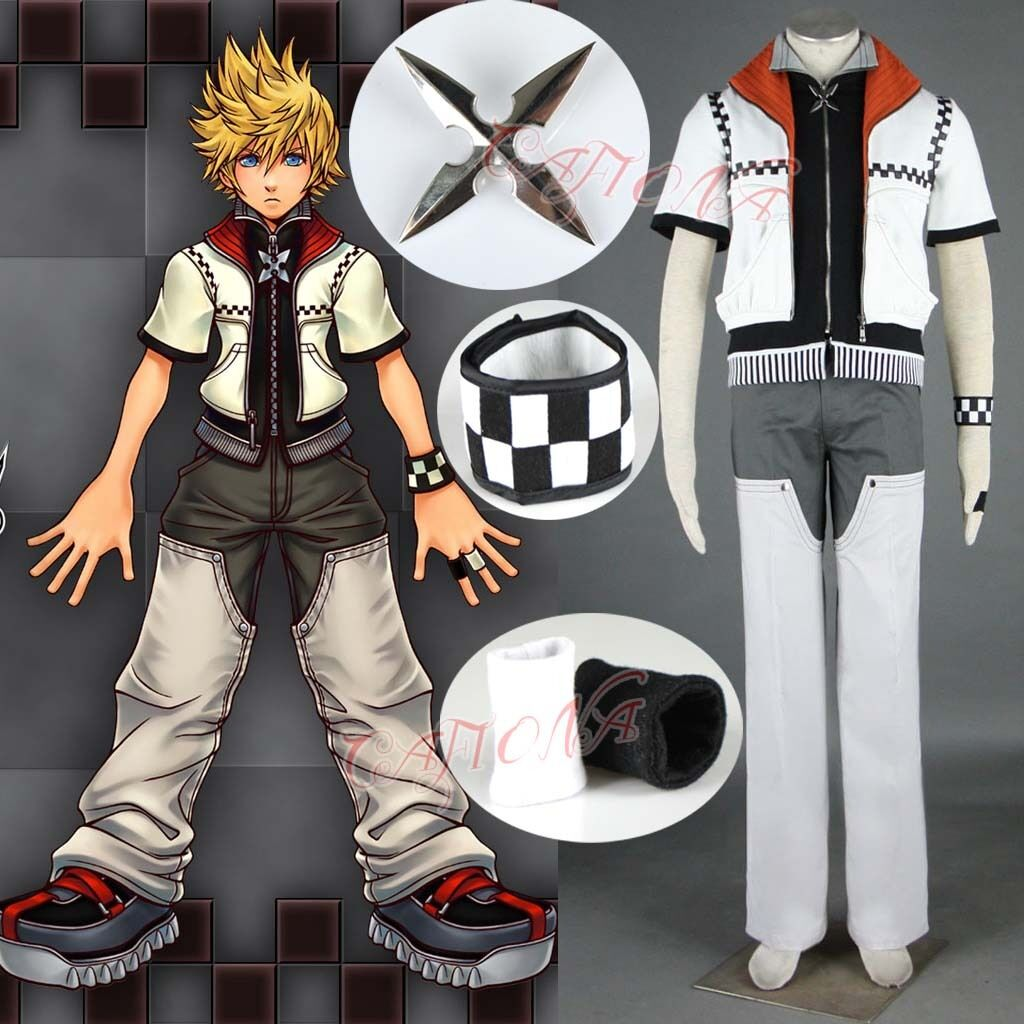 Kingdom Hearts I Roxas Cosplay Costume Cool Man Suits White Custom Made