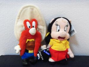 Warner Bros Yosemite Sam, Petunia Pig beanies mint w tags-1997
