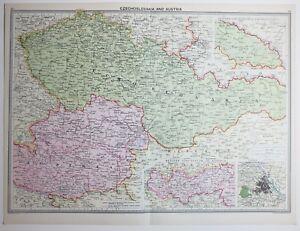 1920 LARGE MAP CZECHOSLOVAKIA AUSTRIA INNSBRUCK VIENNA ENVIRONS eBay