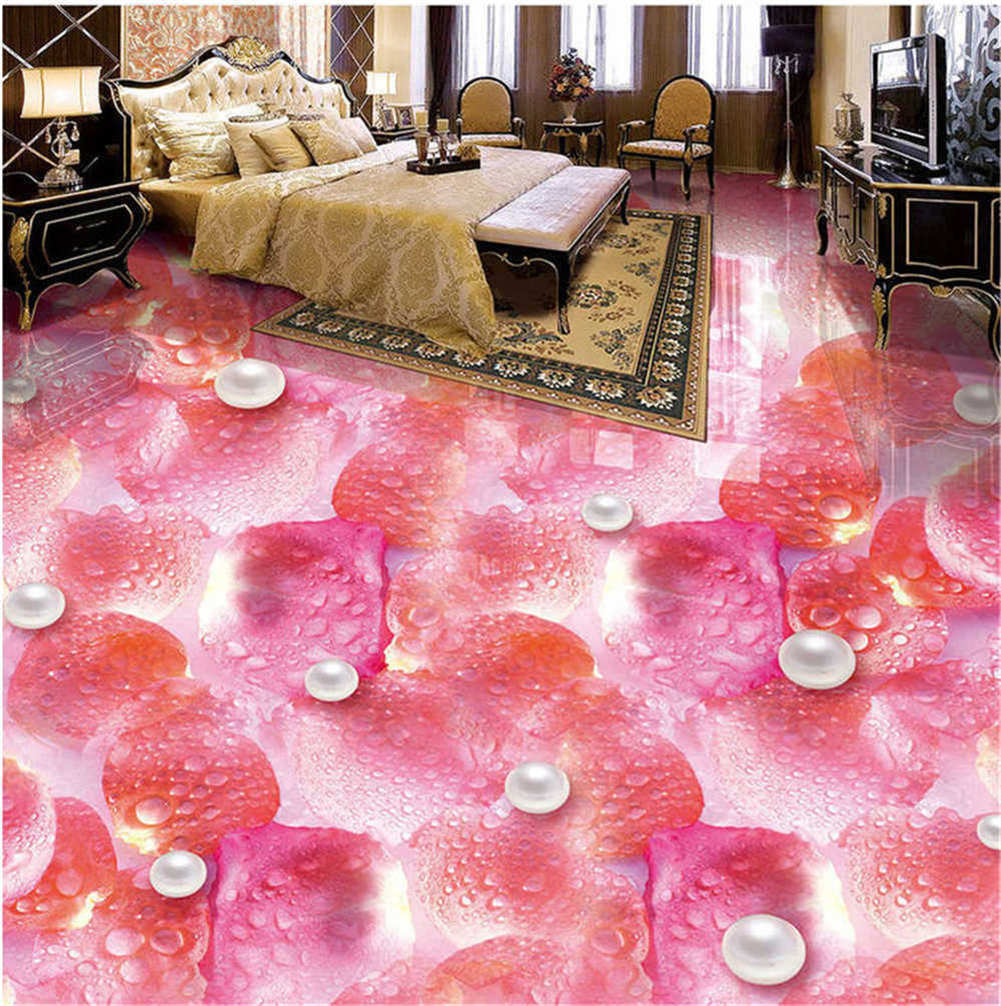 Pure Pearly Dews 3D Floor Mural Photo Flooring Wallpaper Home Print Decoration
