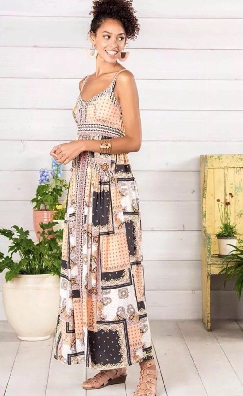Matilda Jane Adventure Begins Perfectly Paisley Maxi Dress Größe X Large XL Fall