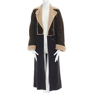 DRIES-VAN-NOTEN-grey-wool-suede-sleeves-shearling-collar-full-length-coat-S