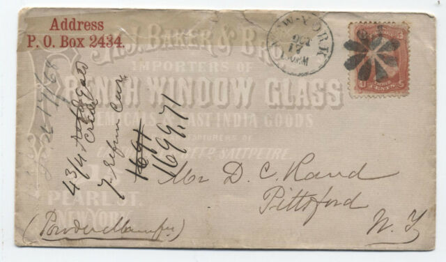 1868 New York ad cover window glass grilled 1861 3ct [y2166]