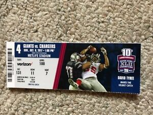 promo code 4fd69 2b609 Details about 2017 NEW YORK GIANTS VS LA CHARGERS TICKET STUB NFL 10/8  DAVID TYREE