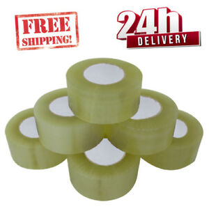 6-ROLLS-STRONG-EXTRA-LOW-NOISE-BIG-TAPE-CLEAR-CARTON-BOXES-BOX-SEALING-TAPE
