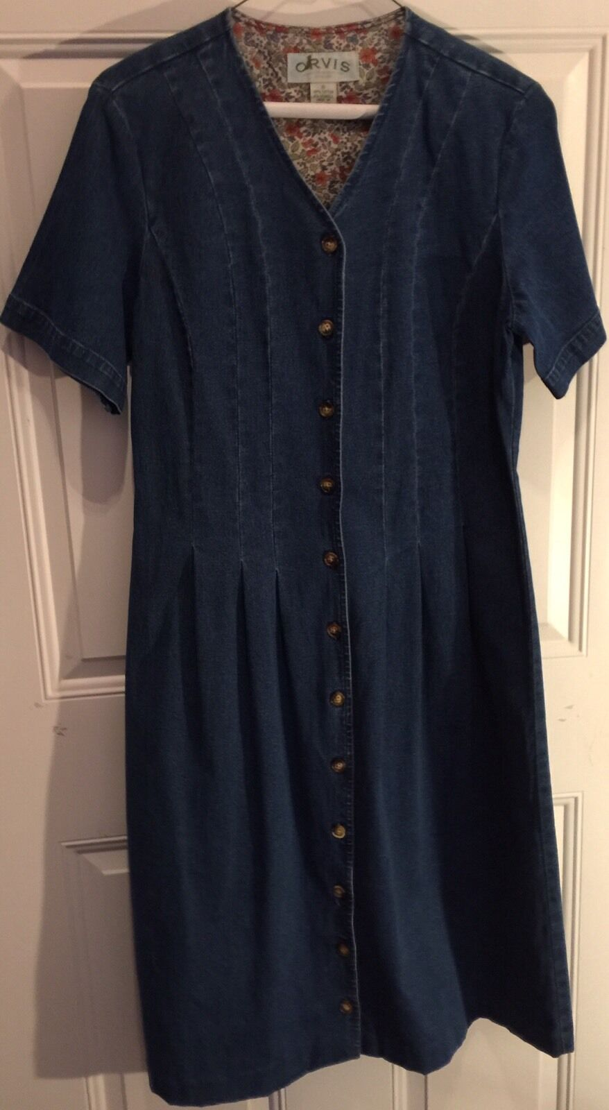 ORVIS Denim Jean Dress bluee Womens Size 8 Fitted Top Chest 36