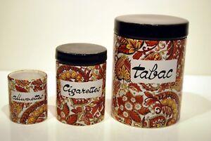 3 Pots Céramique Cachemire Tabac Cigarettes Allumettes Design 60-80's Signés B M Pm11bwv2-10122244-900745258