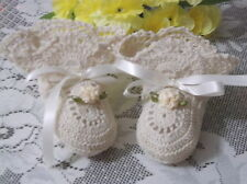 Handmade Hand Crocheted Baby  Booties - Antique White Ribbons & Flowers