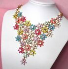 Betsey Johnson beautiful crystal Flowers crowded gorgeous bib Necklace#722L