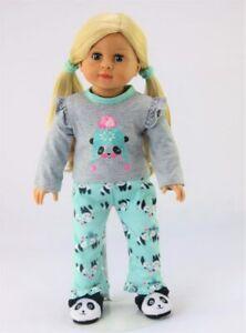 "Teal Winter Panda Pajama Pant Set Fits 18/"" American Girl Doll Clothes"