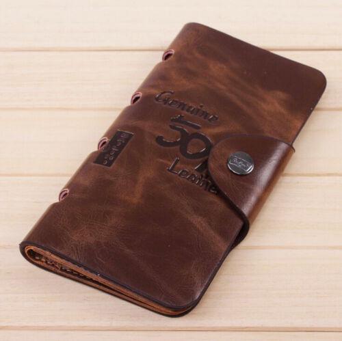 501 Long Wallet Leather Brown Bifold Purse Pockets Cash Card Holder