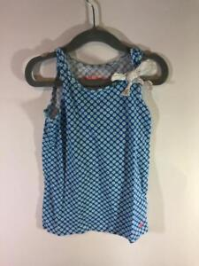 Crewcuts-J-Crew-Girls-Blue-White-Geometric-Sleeveless-Tank-Size-4-5-years