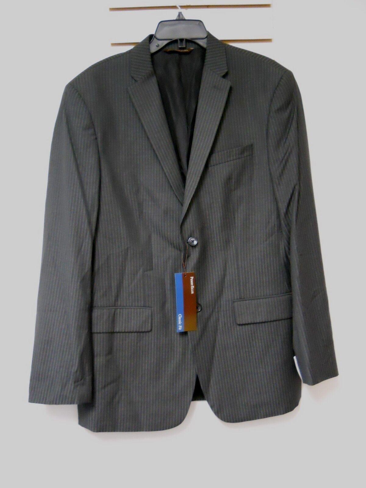 Perry Ellis New  Herren Classic Fit The Artist Charcoal Pinstriped Blazer 42 Reg