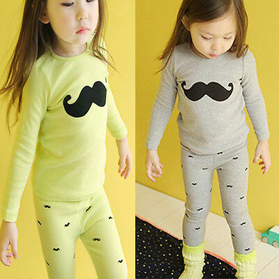 2PCS Kids Boys Girls Beard T-Shirt Tops + Pants Sleepwear Nightwear Pajamas 2-7Y