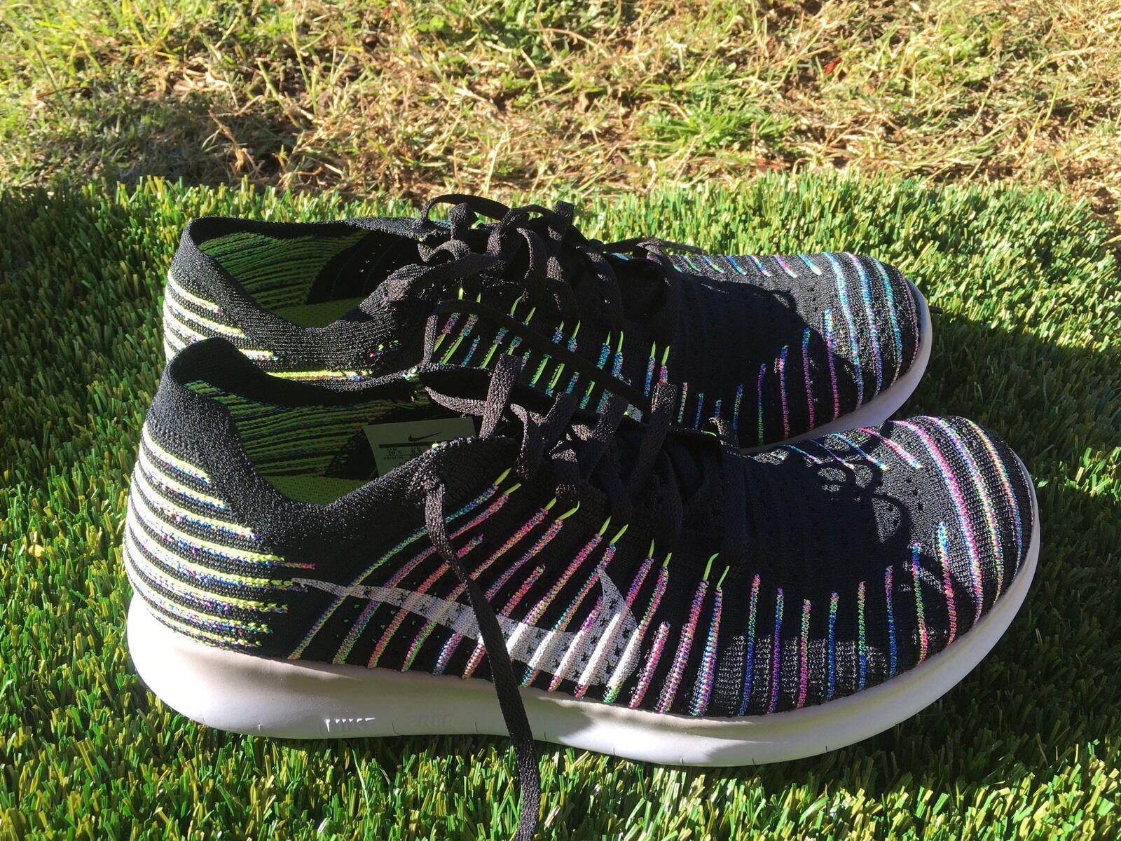 Men's Nike Flyknit RN Black Volt White Running Shoes Sz 10.5