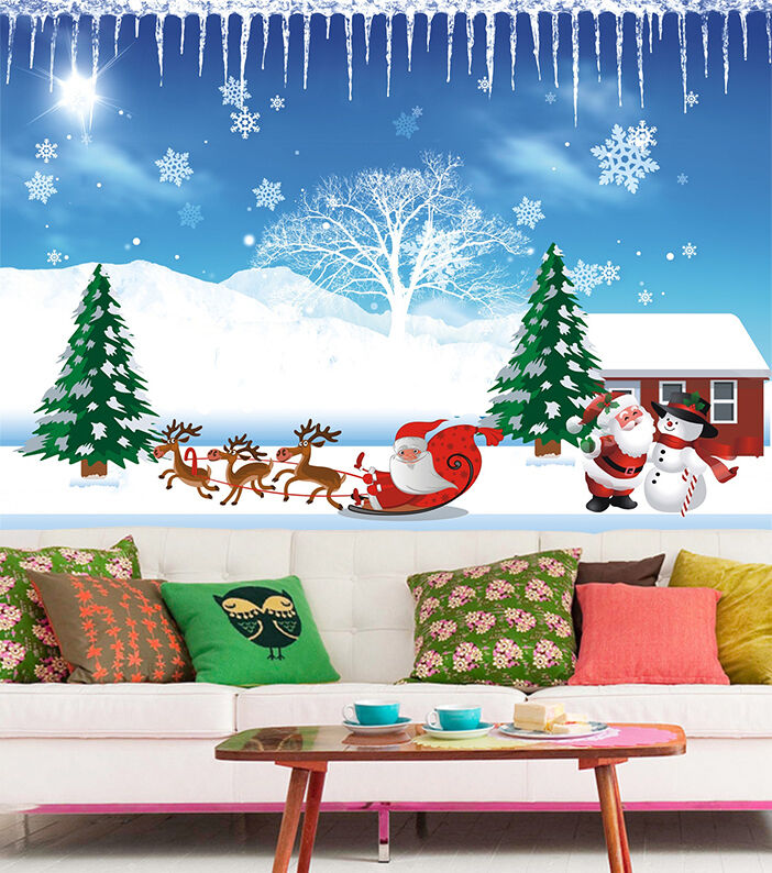 3D Christmas Tree And Father 7 Wall Paper Wall Print Decal Wall Deco Indoor Wall