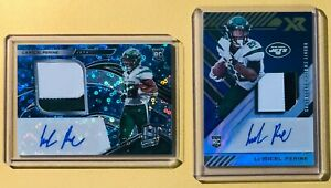2020-Panini-Spectra-XR-La-039-Mical-Perine-Rookie-Patch-Auto-2-card-Lot-NY-Jets-RC