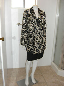 Chico-039-s-Size-3-Large-Open-Front-Blazer-Cardigan-Black-Metallic-Gold